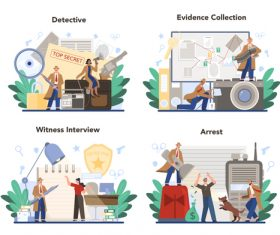Detective cartoon illustration vector