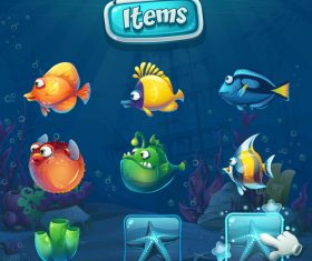 Different kinds of fish underwater vector