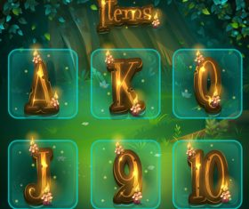 Different letters for game user interface vector