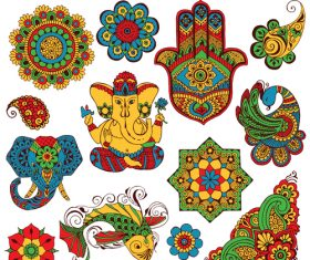 Different patterns Indian authentic ornament and decor vector
