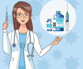 Doctors characters with vaccine illustration vector