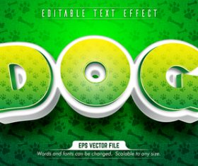 Dog text 3d green style text effect vector