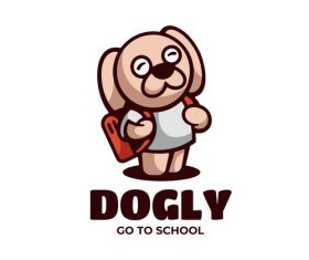 Dogly go to school cartoon vector