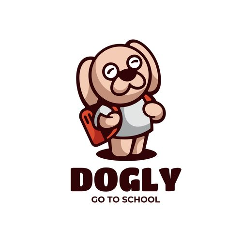 Dogly go to school cartoon vector