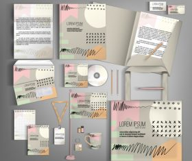 Doodle cover corporate stationery collection vector