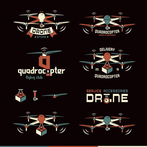 Drone or quadrocopter set vector