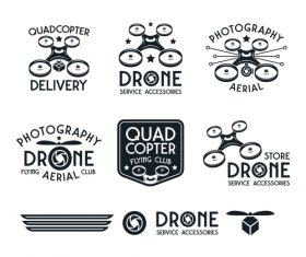 Drone set of vector badges black