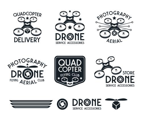 Drone set of vector badges black