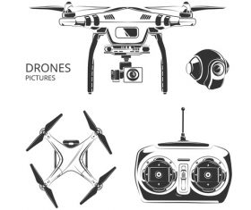 Drones and accessories vector