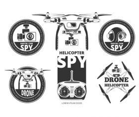 Drones labels vector