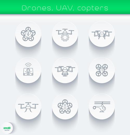 Drones uav copters icon vector