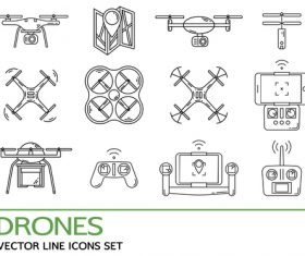 Drones vector line icons set
