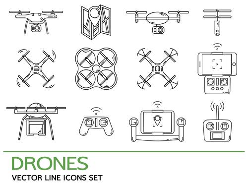 Drones vector line icons set