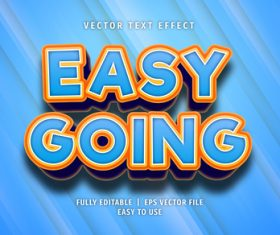 Easy going text 3d blue style text effect vector