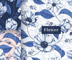 Elegant blue floral seamless pattern vector