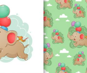 Elephant and mouse cartoon background pattern vector