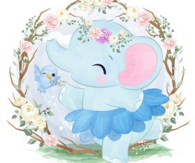 Elephant baby in flower frame vector