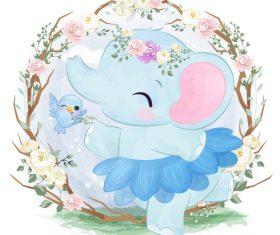 Elephant baby in flower frame vector