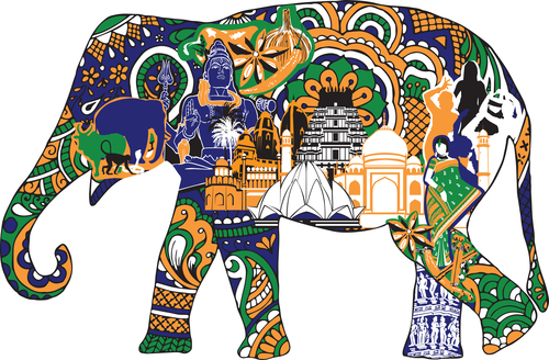 Elephant in the ornament vector