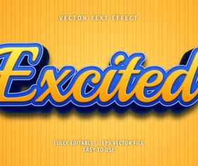 Excited text 3d yellow blue style text effect vector