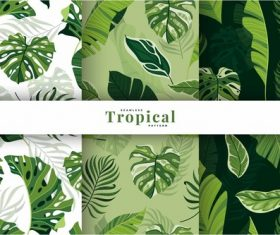 Exotic tropical leaves pattern vector