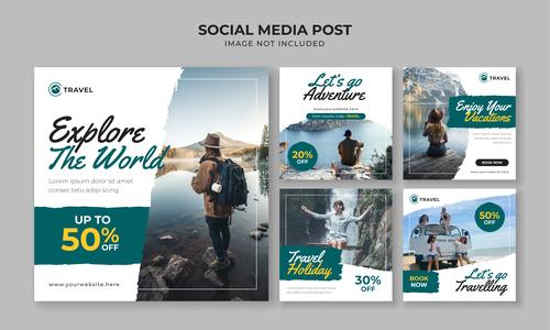 Explore the world travel flyer vector