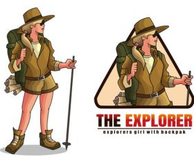 Explorer girl cartoon vector