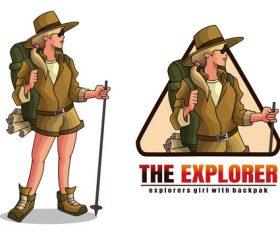 Explorer girl cartoon vector