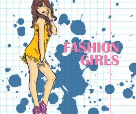 Fashion girl hand drawn vector