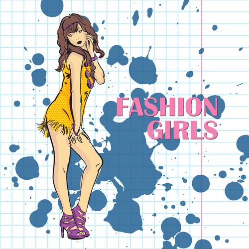 Fashion girl hand drawn vector