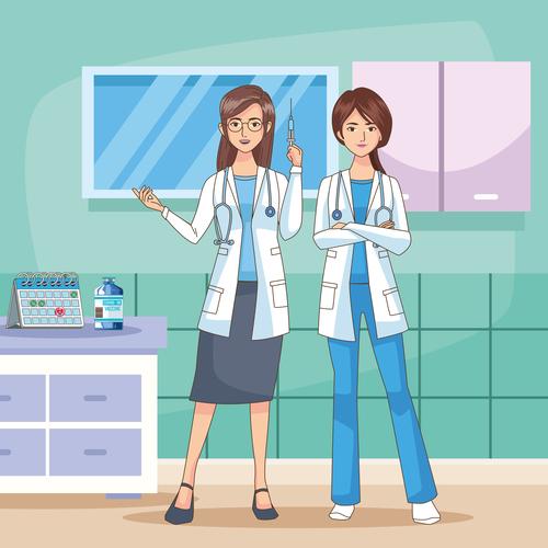Female doctor cartoon illustration vector