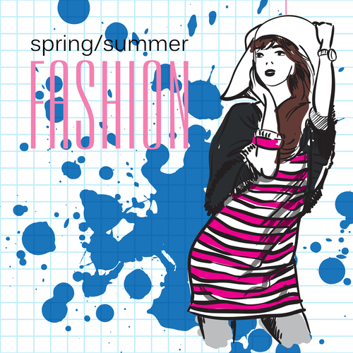 Female fashion and style hand drawn vector