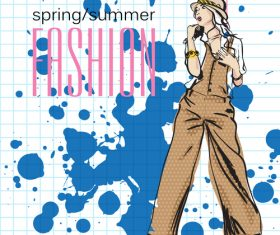 Female spring fashion hand drawn vector