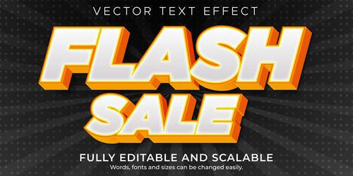 Flash sale fully editable and scalable 3d text style vector