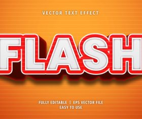 Flash text 3d style text effect vector
