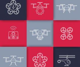Flat icon drones vector