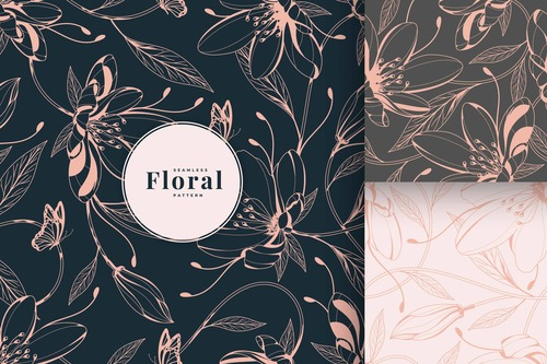 Floral pattern collection golden luxury vector