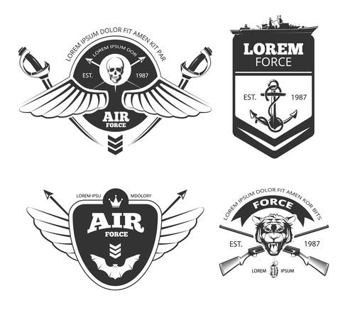Force and air emblem vector