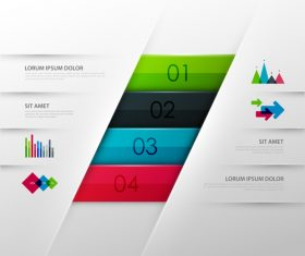 Four color stripes information template design vector