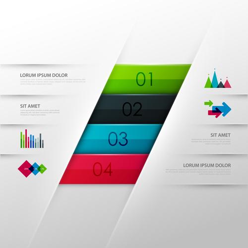 Four color stripes information template design vector