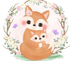 Fox mother and baby in flower frame vector