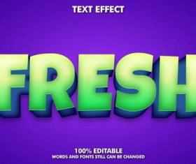 Fresh words and fonts 3d text style vector
