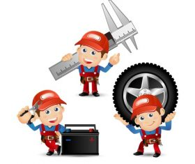 Funny automobile mechanician illustration vector