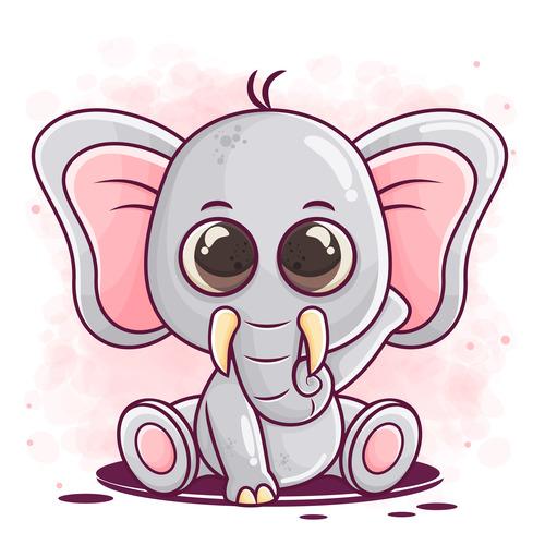 Funny cartoon elephant vector