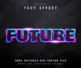 Future text neon colorful text effect vector