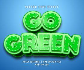 GO green text 3d green style text effect vector