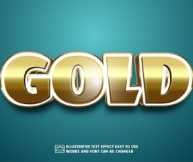 GOLD 3d text style effect vector