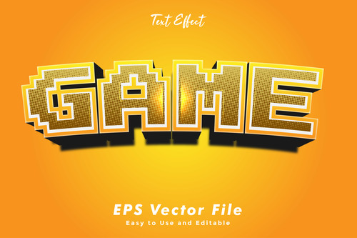 Game 3d text style effect vector