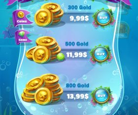 Game mobile format shop screen design vector