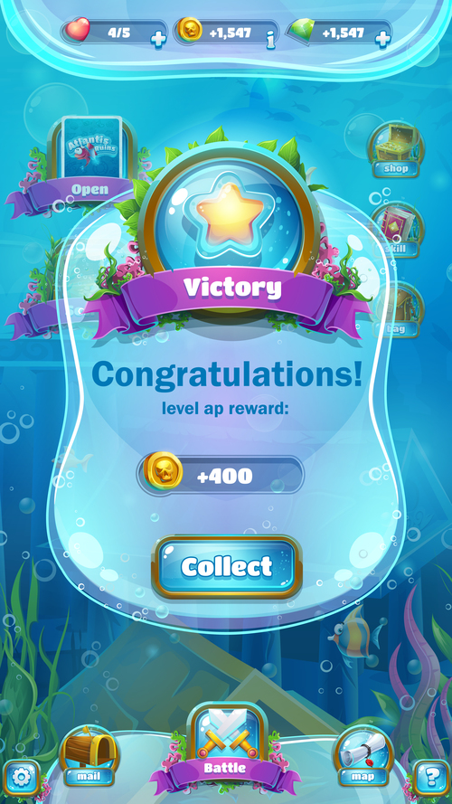 Game victory screen design vector